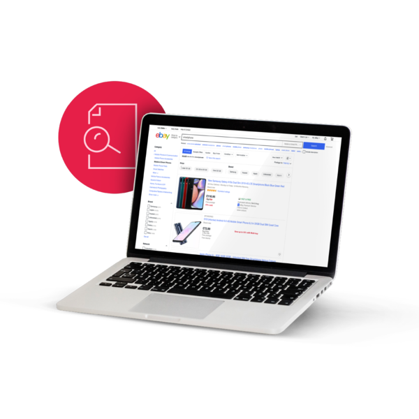 Laptop con schermata eBay