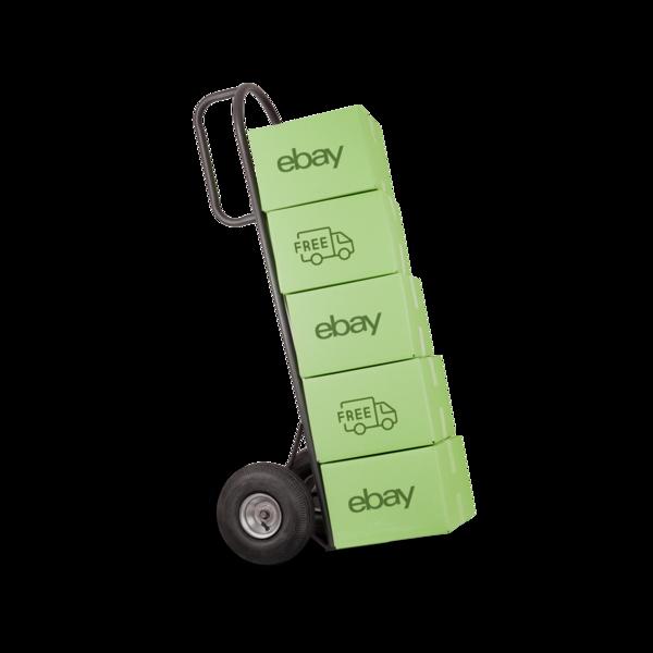 Sackkarre mit grünen Paketen