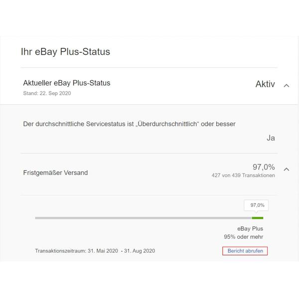 Screenshot eBay Plus Status