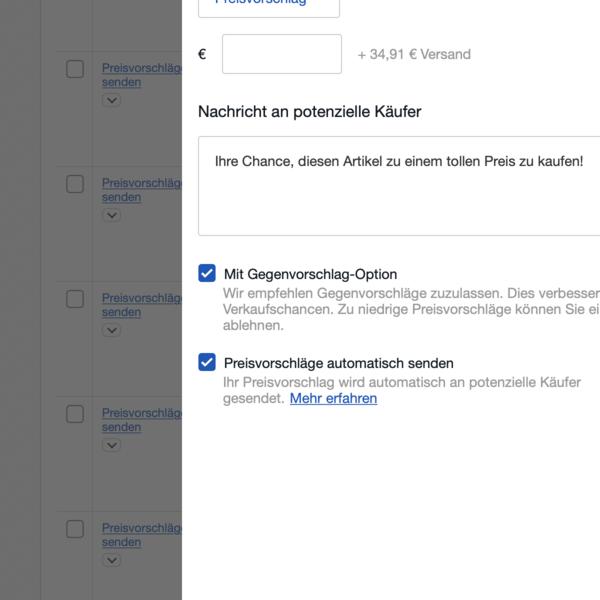 Screenshot - Preisvorschlag