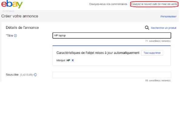 capture d'écran de la page Créer votre annonce