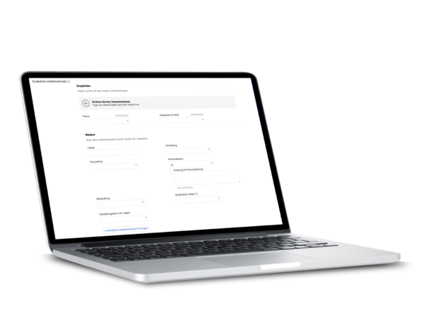 Mobile Screen mit Artikelmerkmal Personalisieren